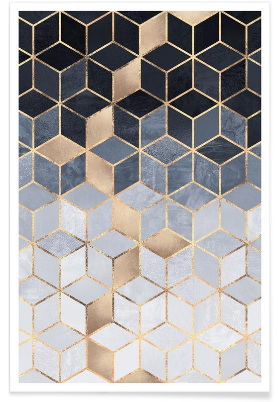 Soft Blue Gradient Cubes -Poster