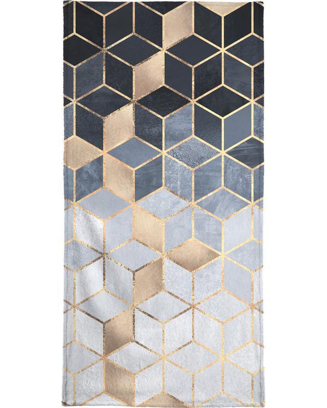 Soft Blue Gradient Cubes Bath Towel