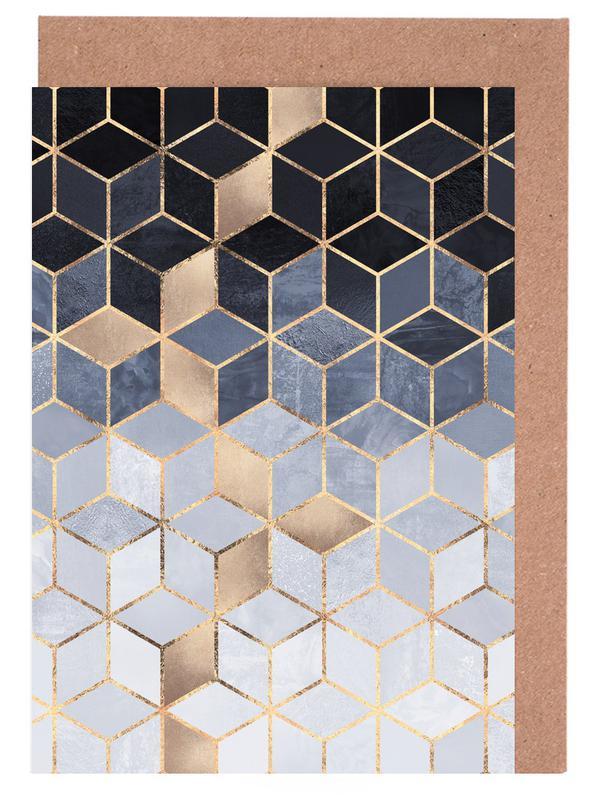 Soft Blue Gradient Cubes Greeting Card Set