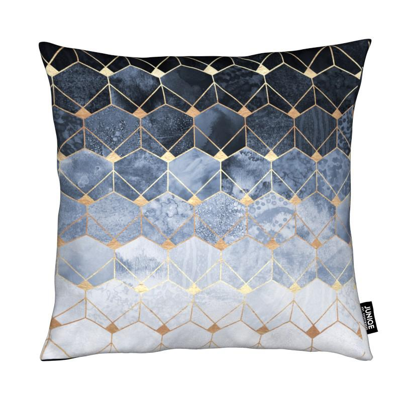 Blue Hexagons and Diamonds coussin