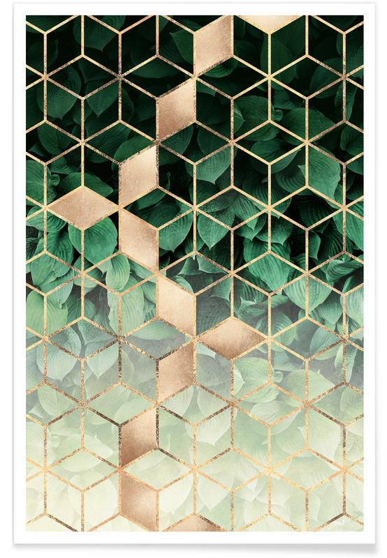 Leaves & Cubes poster