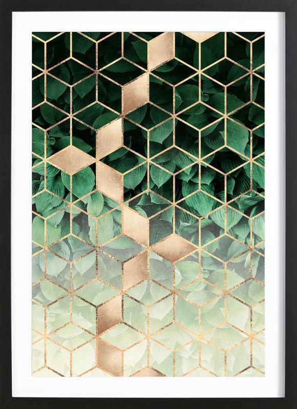 Leaves & Cubes ingelijste print
