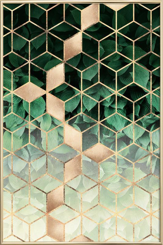 Leaves & Cubes poster in aluminium lijst