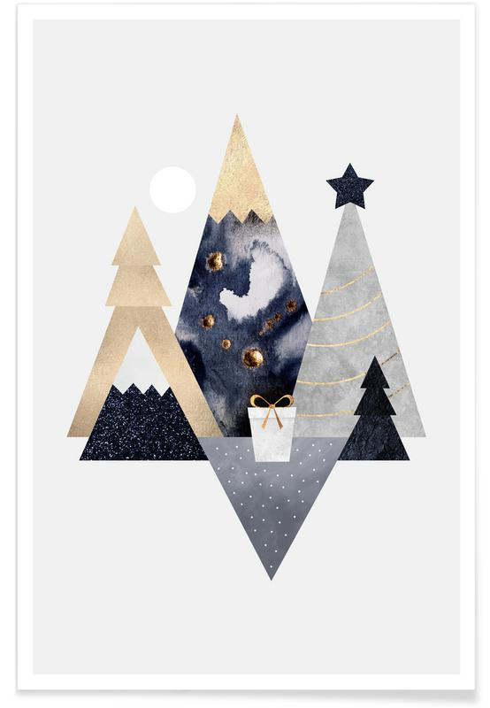 Abstract Landscapes, Christmas, Christmas Mountains Poster
