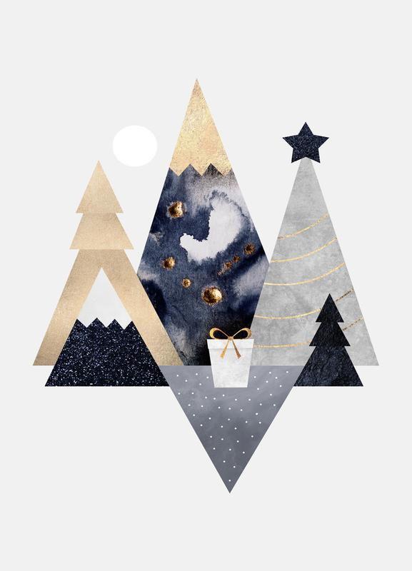 Christmas Mountains canvas doek
