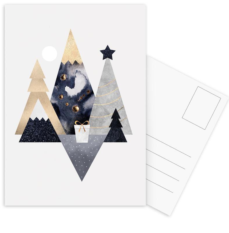 Abstracte landschappen, Kerst, Christmas Mountains ansichtkaartenset