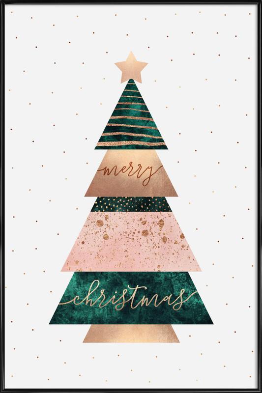 Merry Christmas Tree -Bild mit Kunststoffrahmen