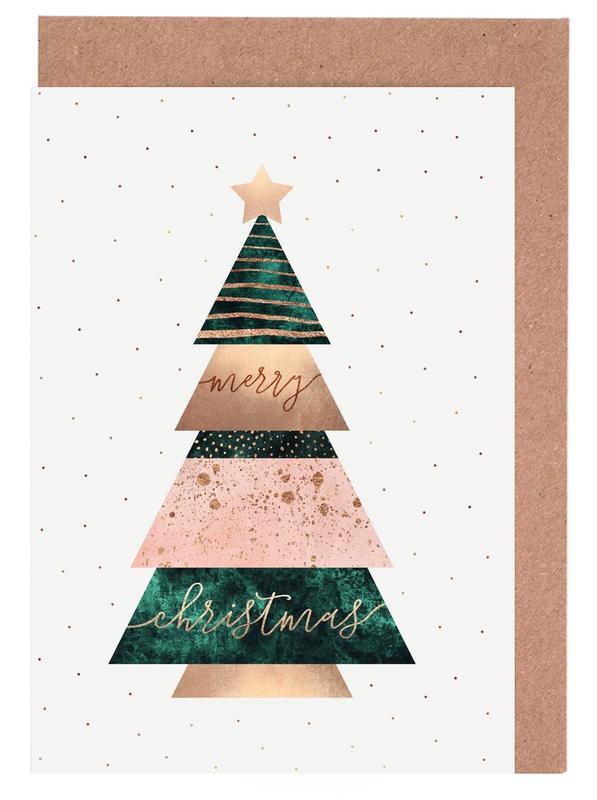 Weihnachten, Merry Christmas Tree -Grußkarten-Set