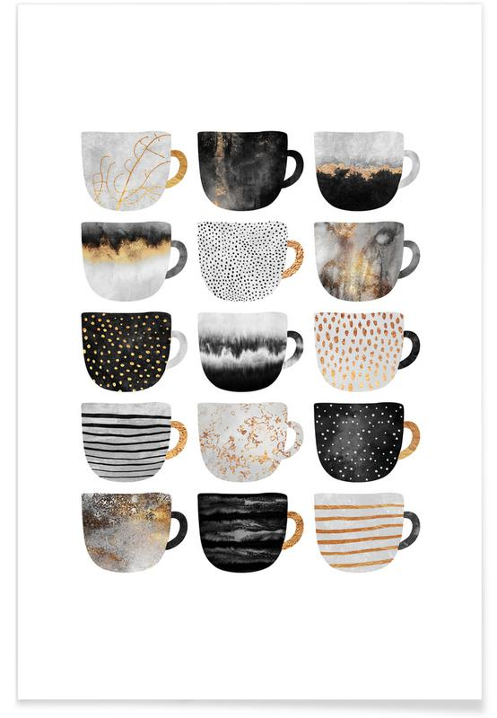 Coffee, Pretty Coffee Cups Poster
