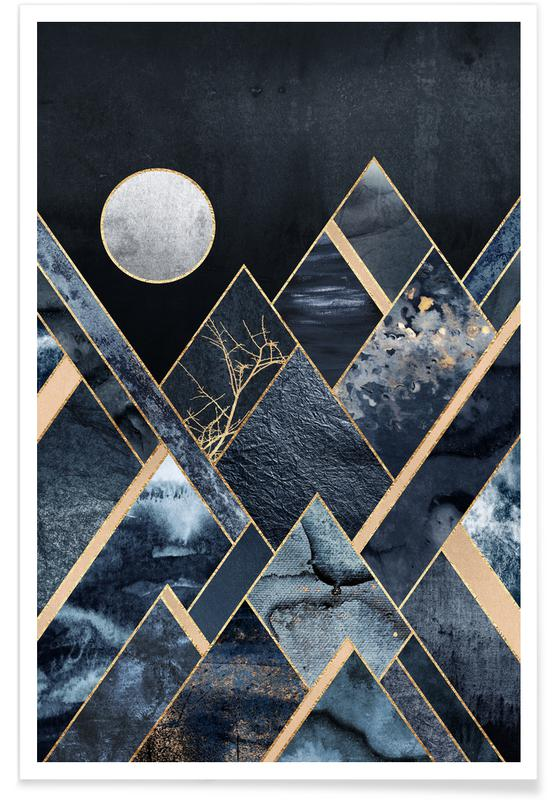 Abstracte landschappen, Stormy Mountains poster