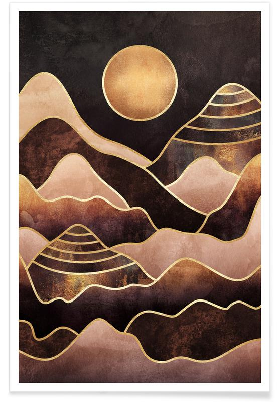 Abstract Landscapes, Sunkissed Mountains Poster