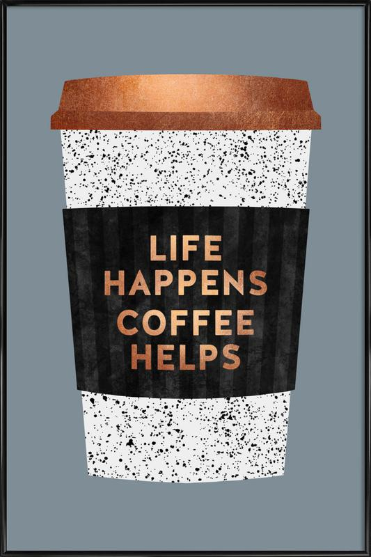 Life Happens - Coffee Helps 2 ingelijste poster
