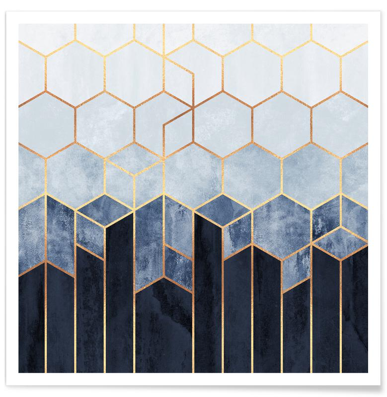 Soft Blue Hexagon Poster