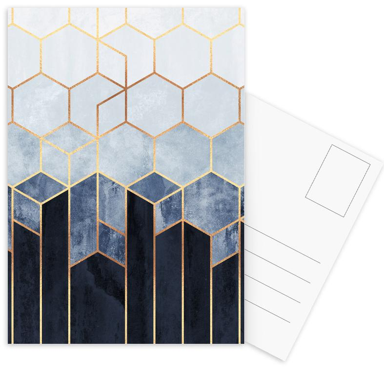 Soft Blue Hexagon -Postkartenset