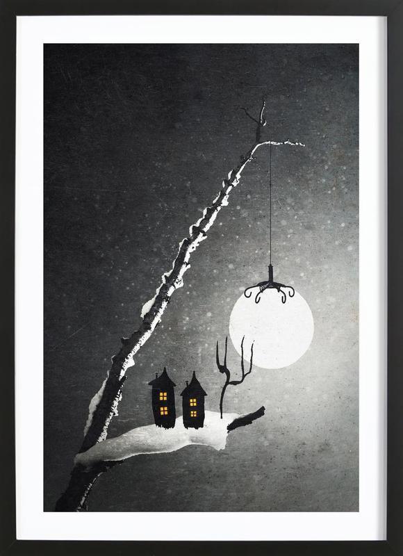 Winter Night -Bild mit Holzrahmen