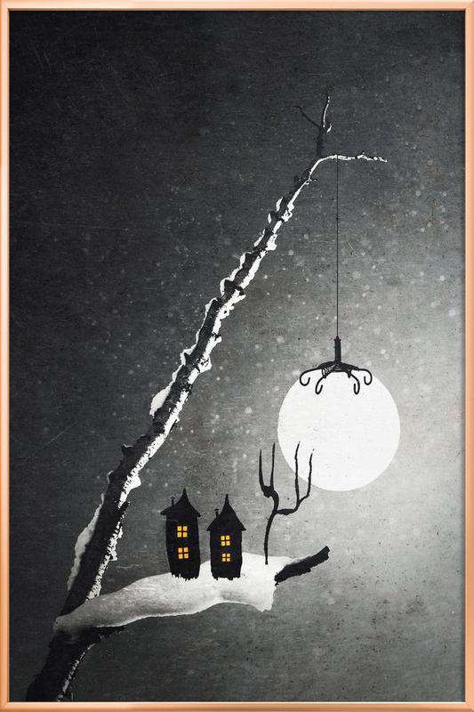 Winter Night -Poster im Alurahmen