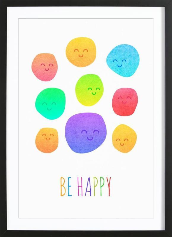 Be Happy affiche sous cadre en bois