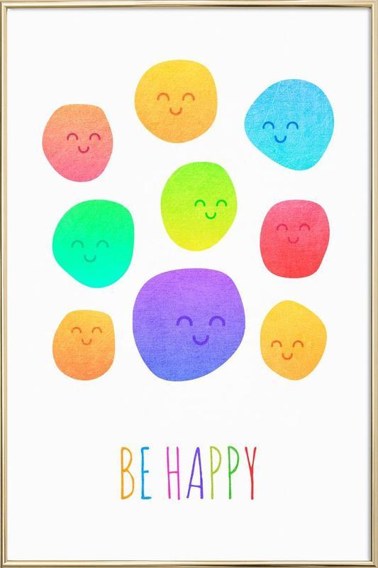 Be Happy affiche sous cadre en aluminium