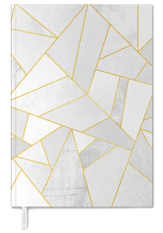 White Stone with Gold Lines Personal Planner