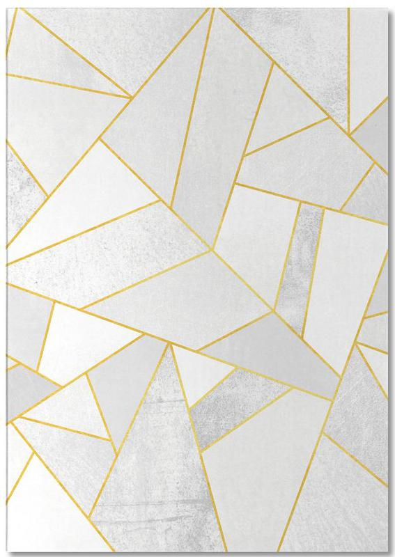 , White Stone with Gold Lines Notepad