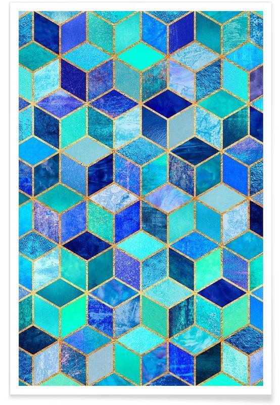 , Blue Cubes Poster