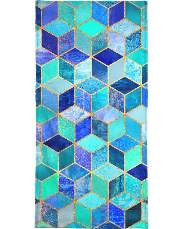 , Blue Cubes Beach Towel