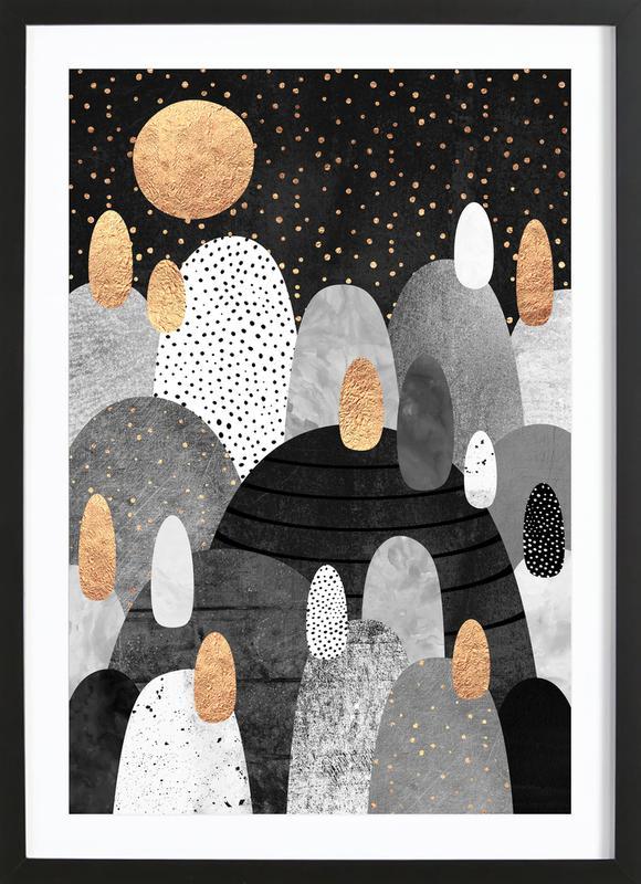 Little Land Of Pebbles By Night -Bild mit Holzrahmen
