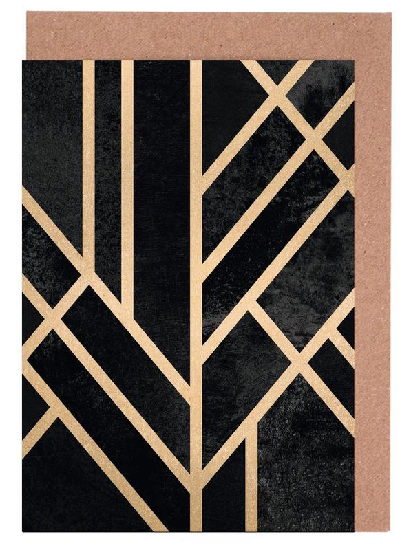 Art Deco Black -Grußkarten-Set
