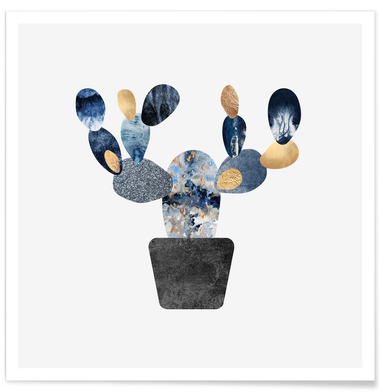 Blue and Gold Cactus affiche