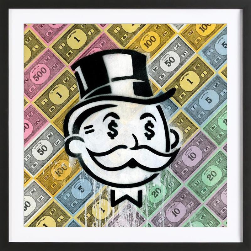 Another Day, Another Dollar -Bild mit Holzrahmen