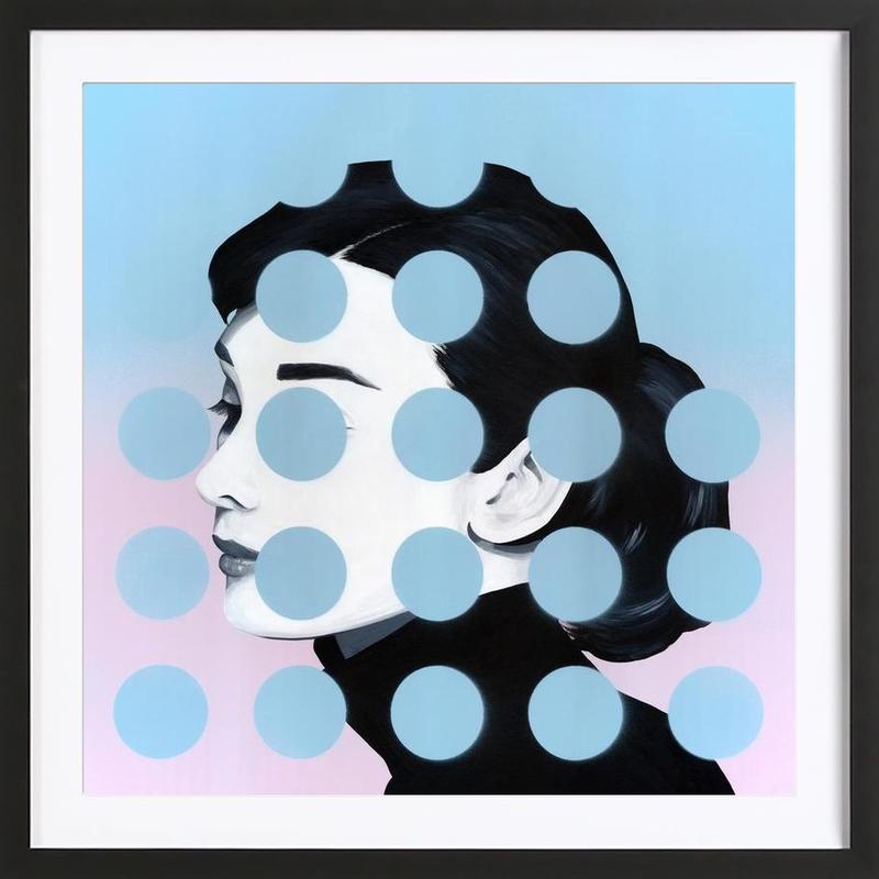 Audrey Dots -Bild mit Holzrahmen