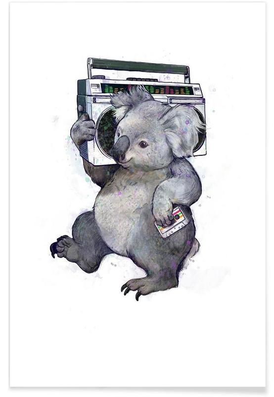 Art pour enfants, Koalas, Noir & blanc, Illustration koala affiche