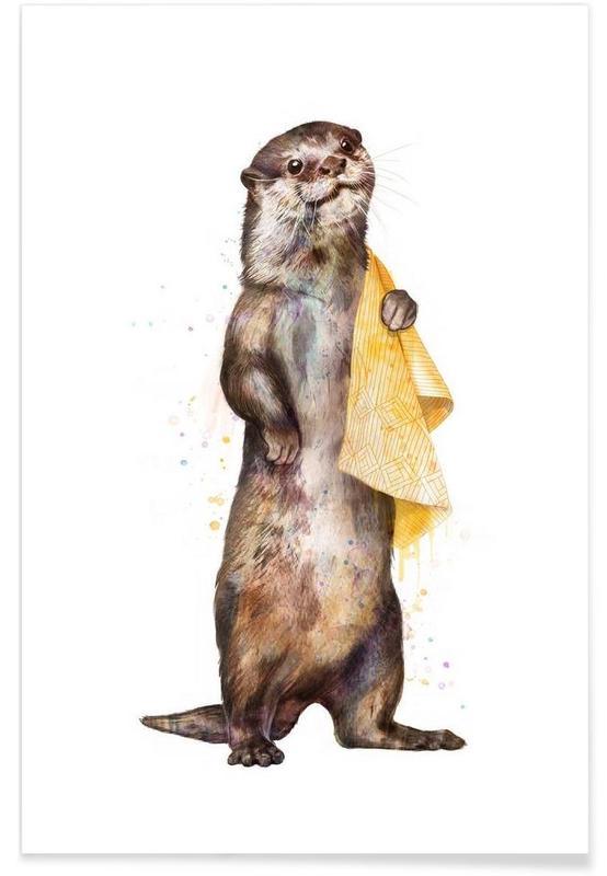 Otters, Otter Illustration Poster