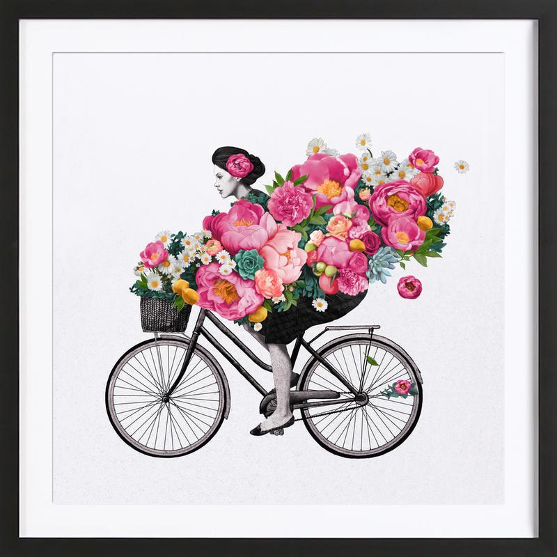 Floral -Bild mit Holzrahmen