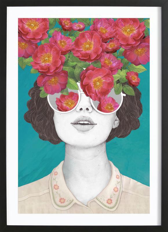 Rose Tinted affiche sous cadre en bois