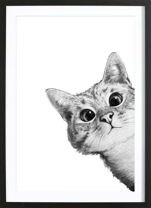 Sneaky Cat -Bild mit Holzrahmen
