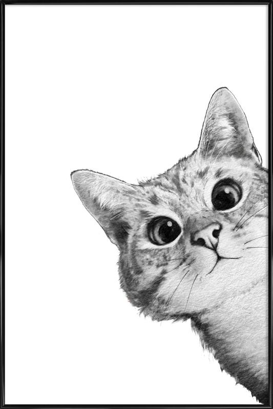Sneaky Cat -Bild mit Kunststoffrahmen