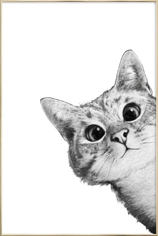 Sneaky Cat -Poster im Alurahmen