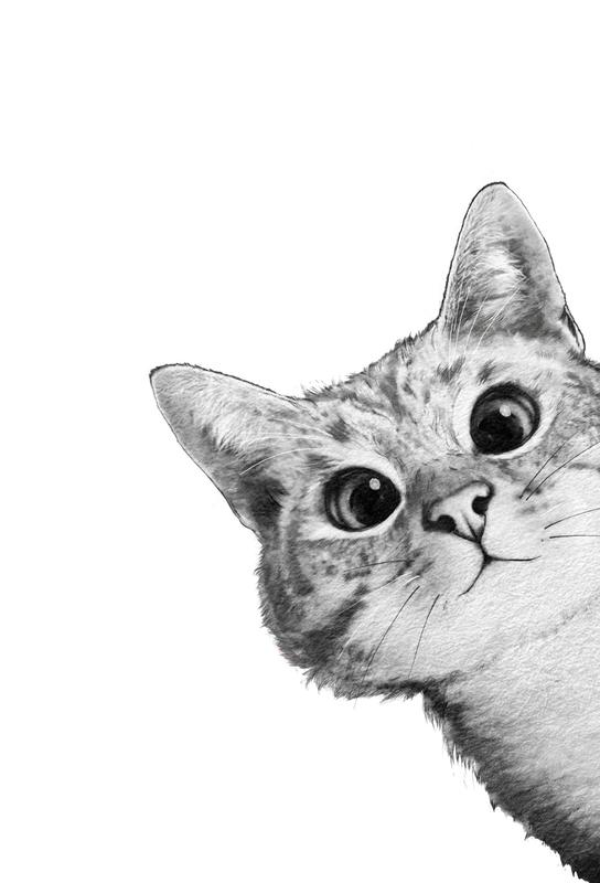 Sneaky Cat tableau en verre