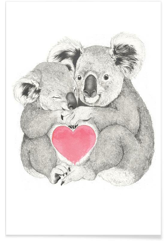 Koalas, Cœurs, Anniversaires de mariage et amour, Saint-Valentin, Koala affiche