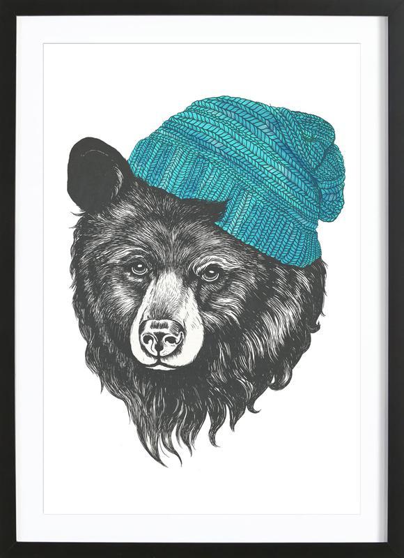 Bear Blue affiche sous cadre en bois
