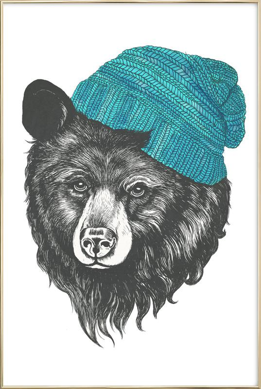 Bear Blue Poster in Aluminium Frame