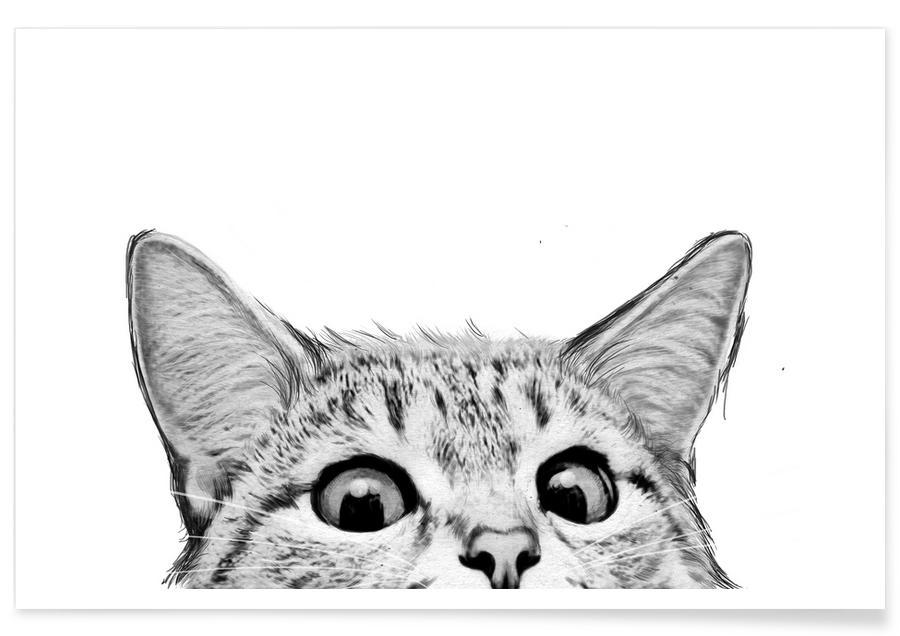 Art pour enfants, Noir & blanc, Chats, Cat affiche