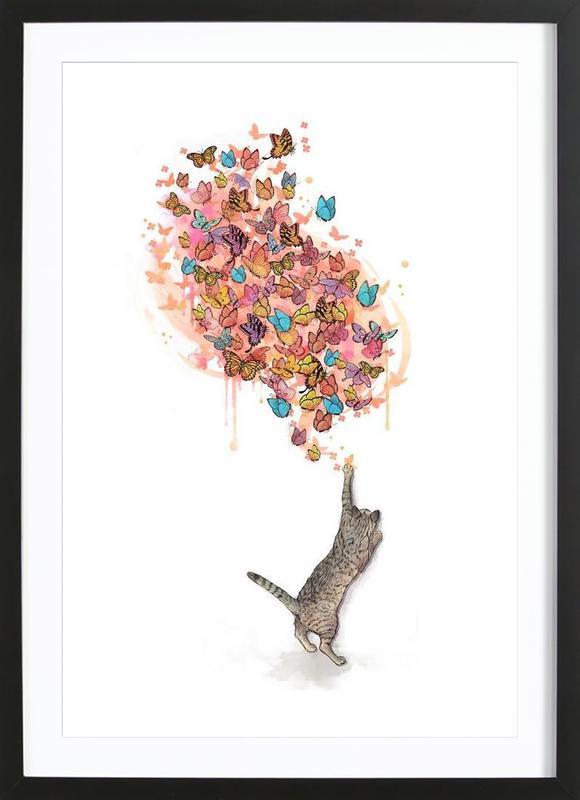 Catching Butterflies -Bild mit Holzrahmen