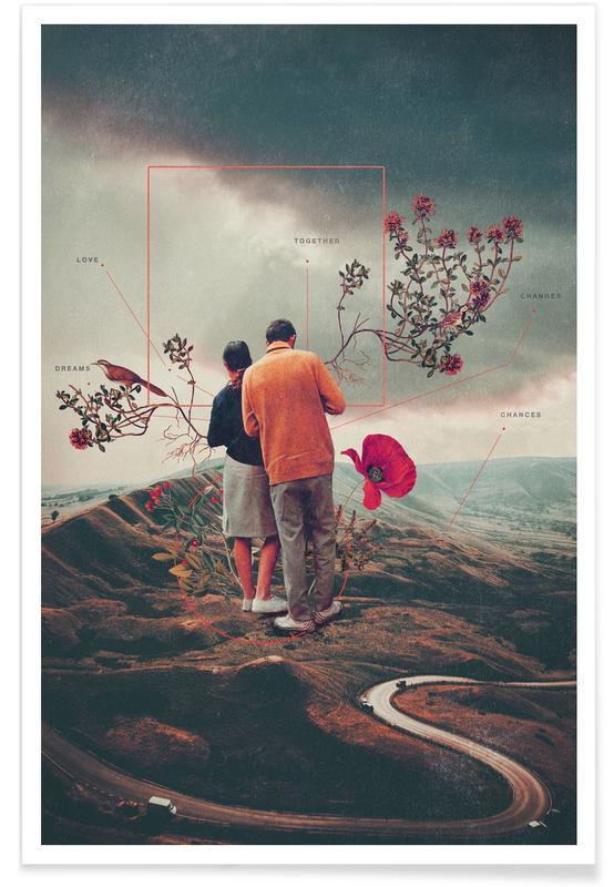 Fusées et vaisseaux spatiaux, Paysages abstraits, Couples, Skylines, Saint-Valentin, Forêts, Chances & Changes affiche