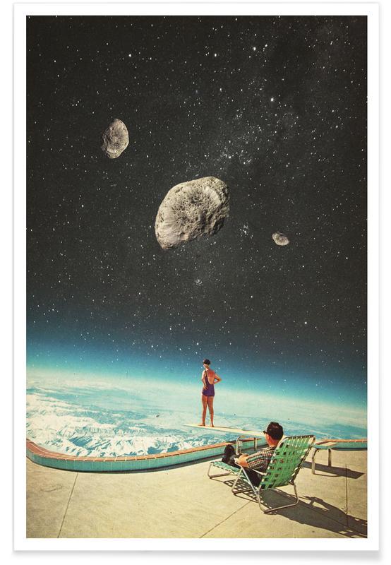 Fusées et vaisseaux spatiaux, Paysages abstraits, Couples, Skylines, Saint-Valentin, Forêts, Summer With A Chance Of Asteroids affiche