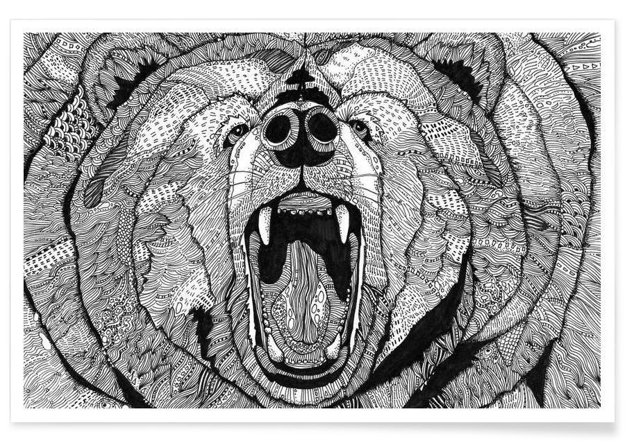 Bären, Schwarz & Weiß, grizzly -Poster