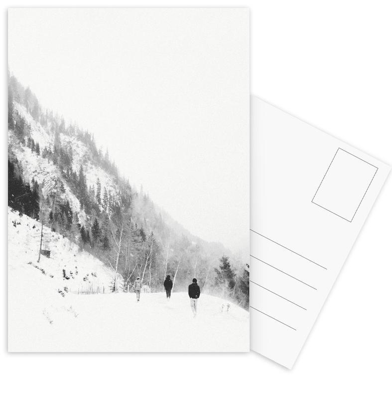Zwart en wit, Bergen, Winter Tag 5 ansichtkaartenset