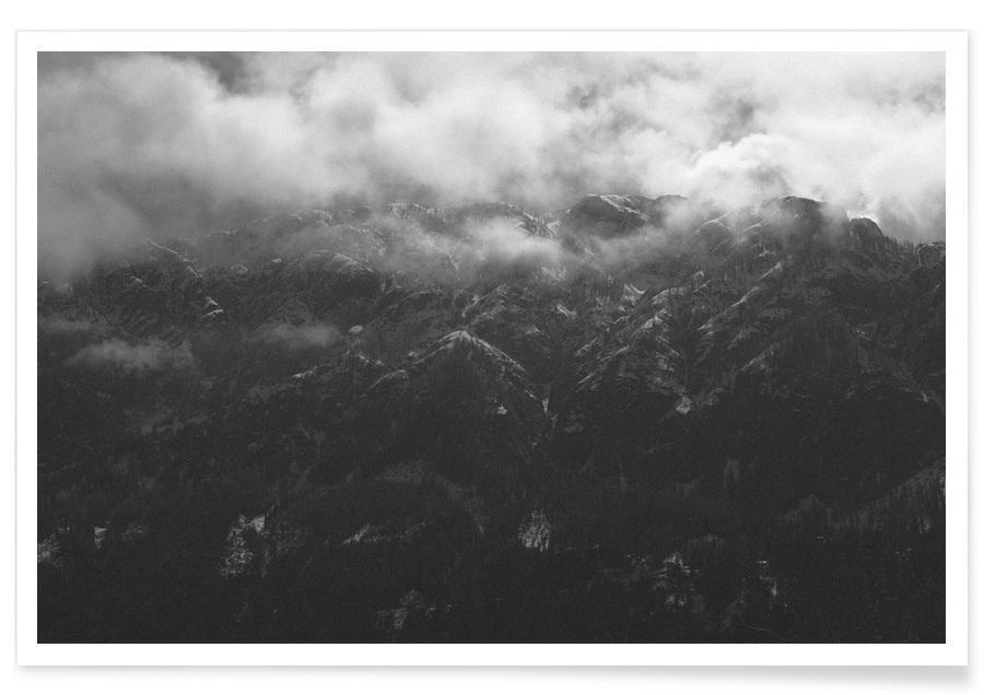 Himmel & Wolken, Schwarz & Weiß, Isolated -Poster