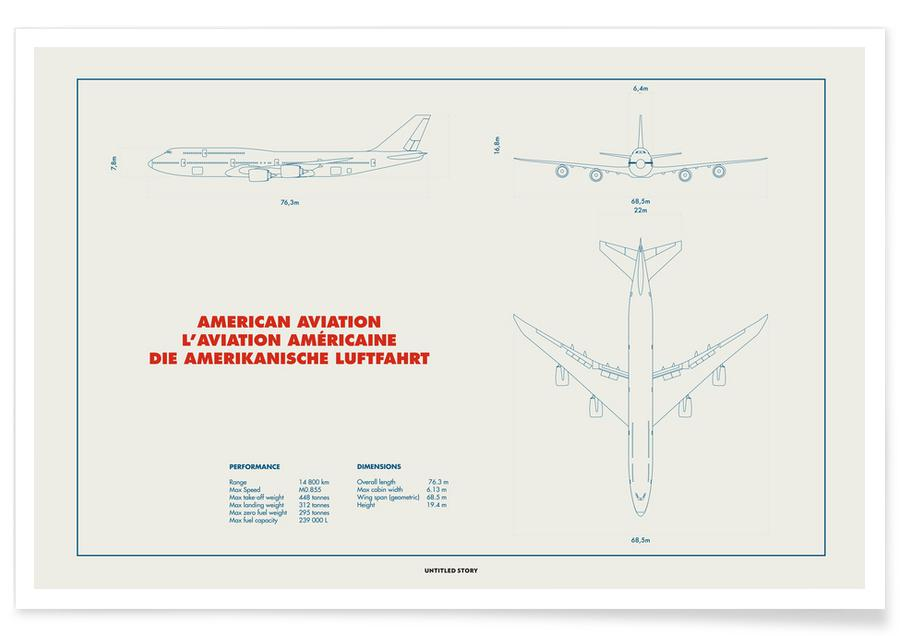 Avions, Technical Drawing 747 affiche